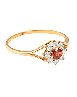 9ct Yellow Gold Diamond and Garnet Ring