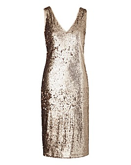 Champagne Sequin Vest Shift Dress