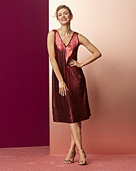 Claret Sequin Vest Shift Dress
