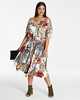 Tropical Print Bardot Dress