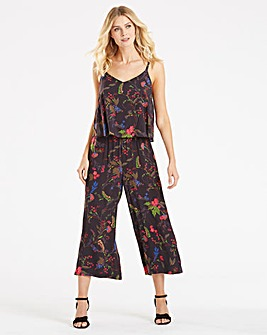 Black Print Layer Jumpsuit