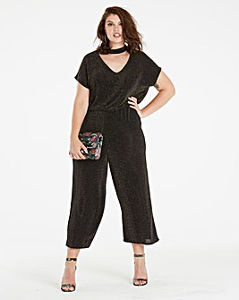 Choker Neck Cropped Jumpsuit