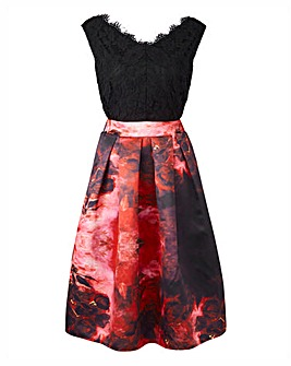Black Lace Prom Dress with Floral Skirt