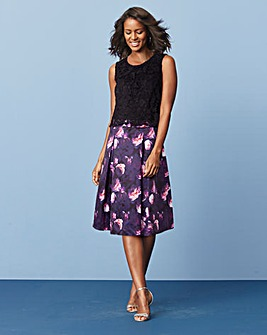 Floral Dress with Lace Overlay