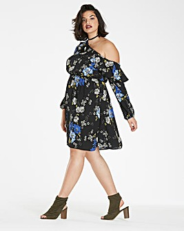 Blue Floral Cold Shoulder Print Dress