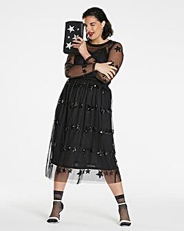 Sequin Star Midi Dress