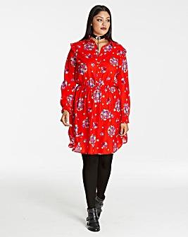 Red Printed Short Shirt Dress