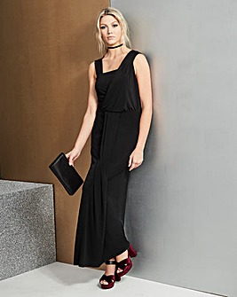 Black Grecian Wrap Maxi Dress