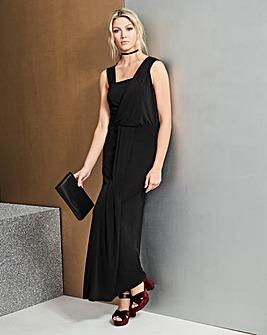 Black Grecian Wrap Maxi Dress