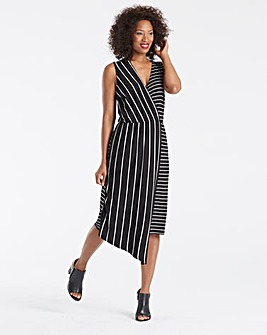 Asymmetric Stripe Midi Dress