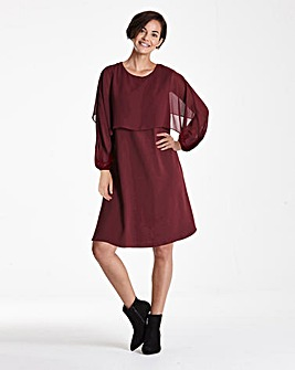 Claret Cape Sleeve Tunic Dress
