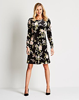 Nude Floral Ruched Sleeve Swing Dress