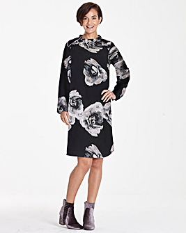 Black Print Frill Shoulder Shift Dress