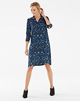 Blue Floral Long Sleeve Shirt Dress