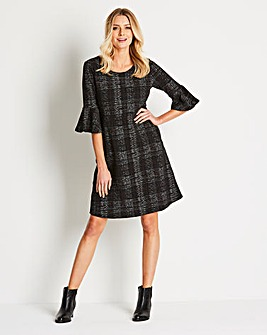 Fluted Sleeve Jaquard Dress