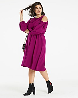 Amethyst Shoulder Dress Asymmetric Hem