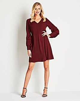 Wine Sleeve Detail V-Neck Dress
