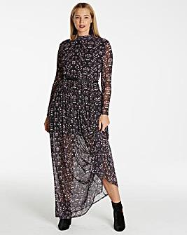 Black Print Floral Mesh Maxi Dress