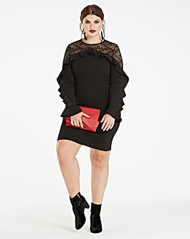 Black Lace Ruffle Front Dress