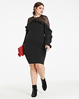 Black Lace Ruffle Front Dress