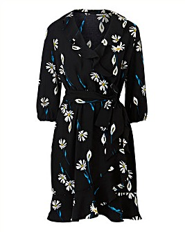 Print Ruffle Mock Wrap Dress