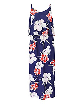 Navy Multi Floral Layer Maxi Dress