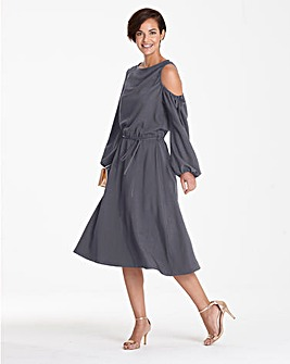 Pewter One Shoulder Dress Asymmetric Hem