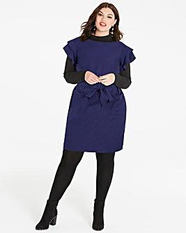 Flute Sleeve Linen Dress