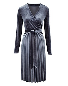 Pleated Velvet Dress