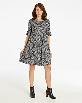 Printed Jersey Swing Dress