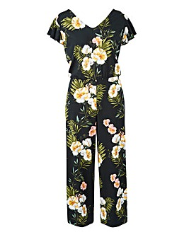 Black Print V-Neck Printed Jumpsuit