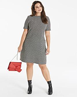 Black/Nude Jacquard Pocket Dress