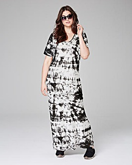 Black/White Tie Dye T-Shirt Maxi Dress