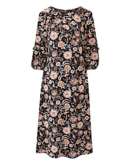 Floral Print Ruffle Sleeve Midi Dress