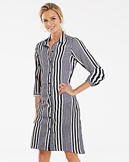 Blue Stripe Long Sleeve Shirt Dress