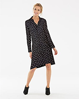 Heart Print Long Sleeve Shirt Dress