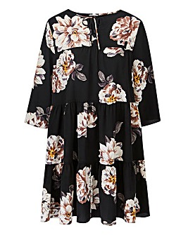 Black Floral Tiered Waffle Dress