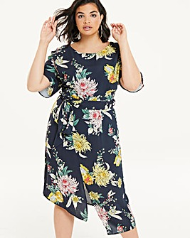 Oriental Print Front Split Wiggle Dress
