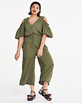 Cold Shoulder Zip Jumpsuit