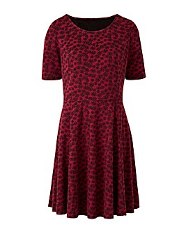 Berry/ Black Jacquard Skater Dress