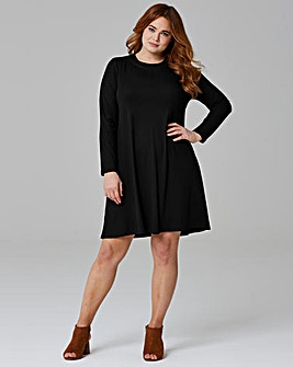 Black Long Sleeve Ribbed Swing dress