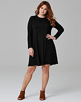 Black Long Sleeve Ribbed Swing dress