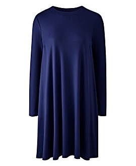 Indigo Long Sleeve Ribbed Swing dress