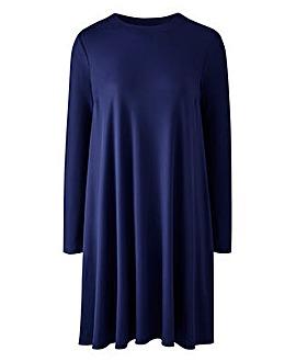 Indigo Long Sleeve Ribbed Swing dress