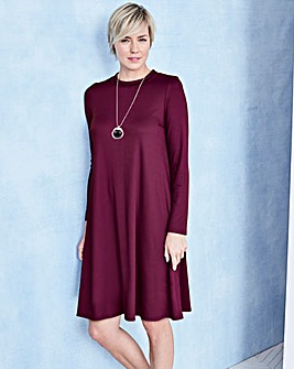Long Sleeve Ribbed Jersey Swing dress