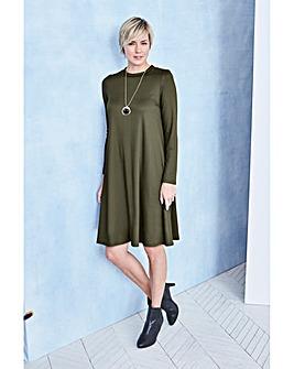 Long Sleeve Ribbed Jersey Swing dress