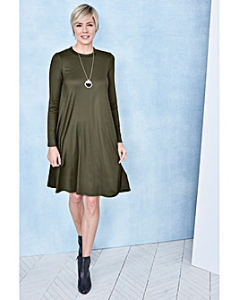 Khaki Long Sleeve Ribbed Swing dress