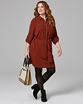 Nut Brown Zip Shirt Dress