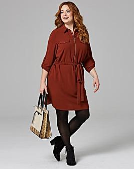 Nut Brown Zip Shirt Dress