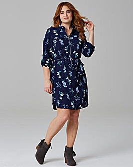 Floral Print Zip Shirt Dress
